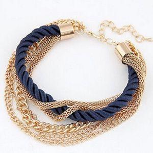 Women Multi Chain Rope Bracelet-Blue